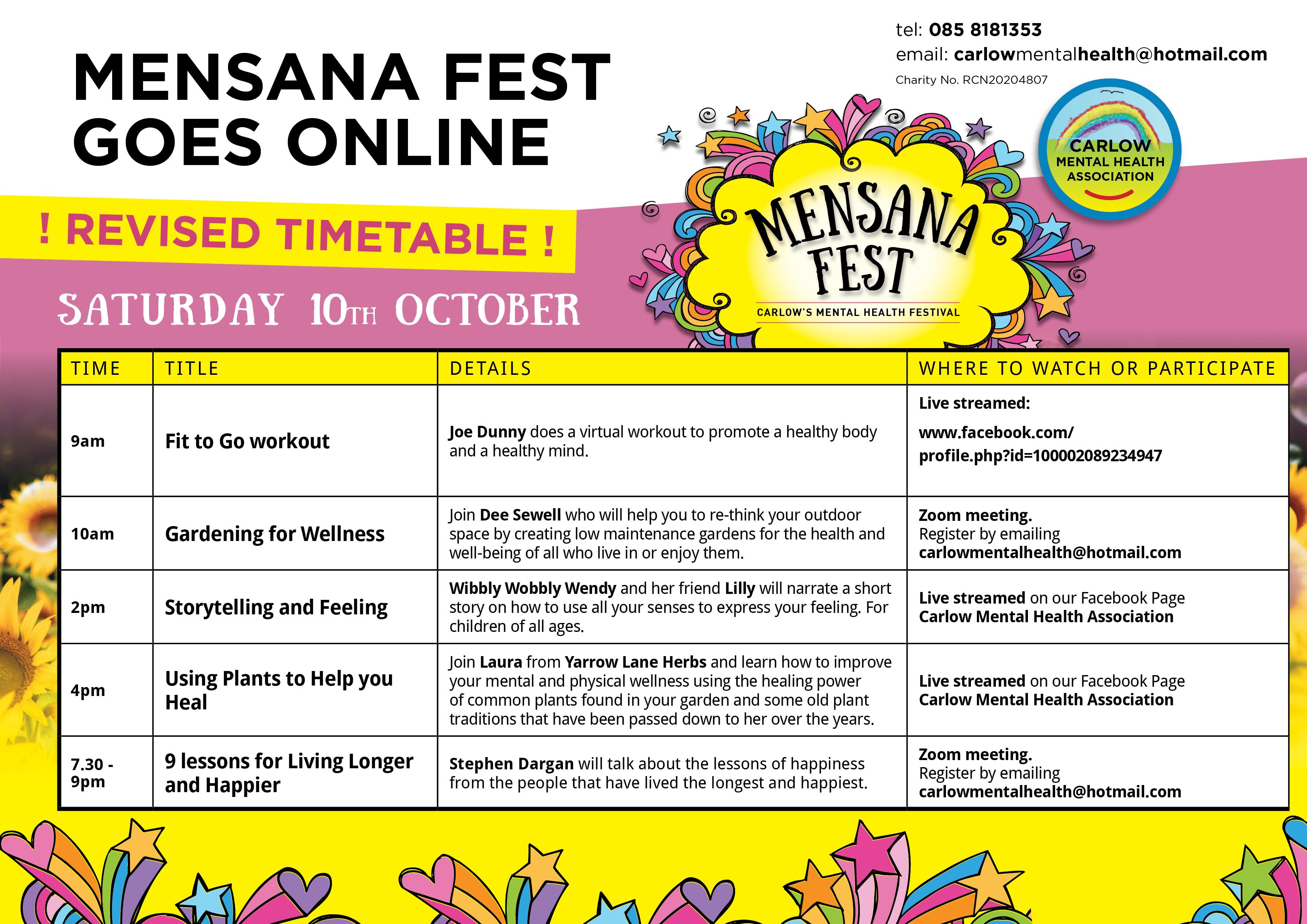Saturday Mensana Programme